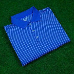 Nike Golf DRI-FIT Blue w/ White Stripes Polo